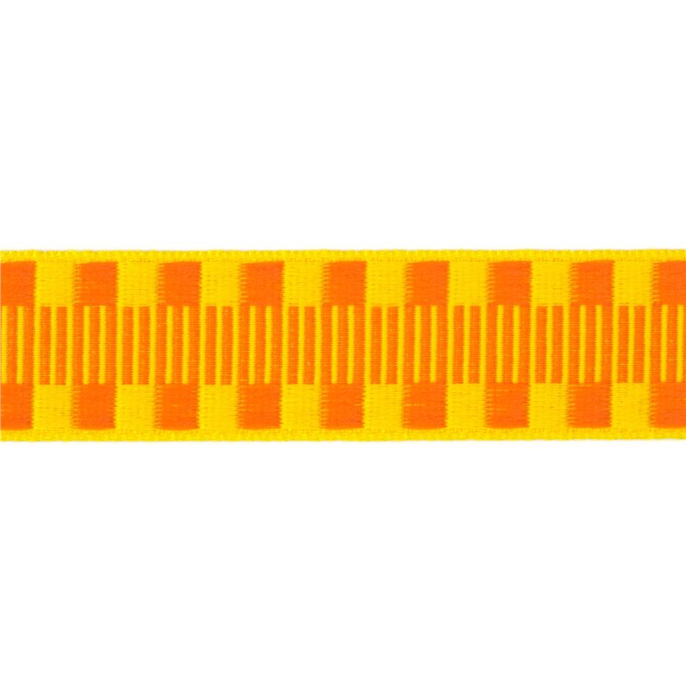 1'' Jacquard Ribbon Check Stripes Orange/Yellow