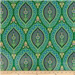 200227 Amy Butler Alchemy Laminated Cotton Imperial Paisley Emerald
