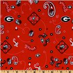 ET-411 Collegiate Cotton Broadcloth University of Georgia Bandana Red