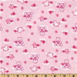 Camelot Flannel Winter Teddy Bears Pink