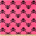 Minky Jolly Rogers Skull & Bones Hot Pink/Black
