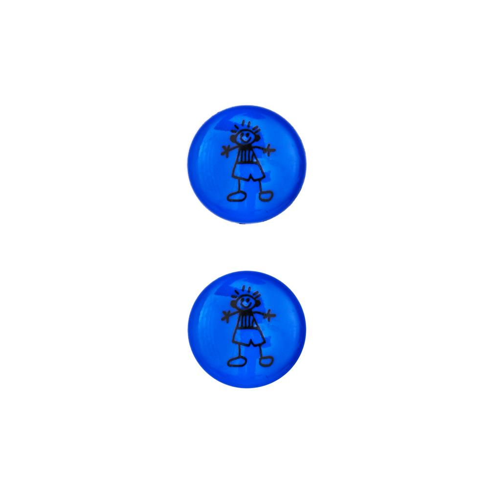 Dill Novelty Button 11/16'' Children's Drawing Royal Blue