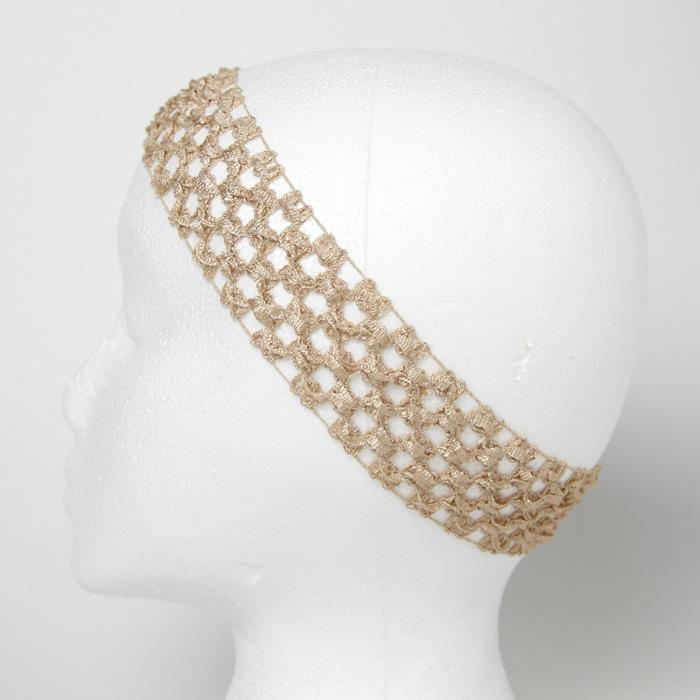 1 3/4'' Stretch Crochet Headband Beige