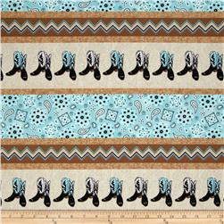 Cowgirl Up Boot & Bandana Stripe Tan/Turquoise