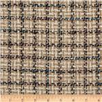 Wool Blend Coating Square Plaid Beige/Multi