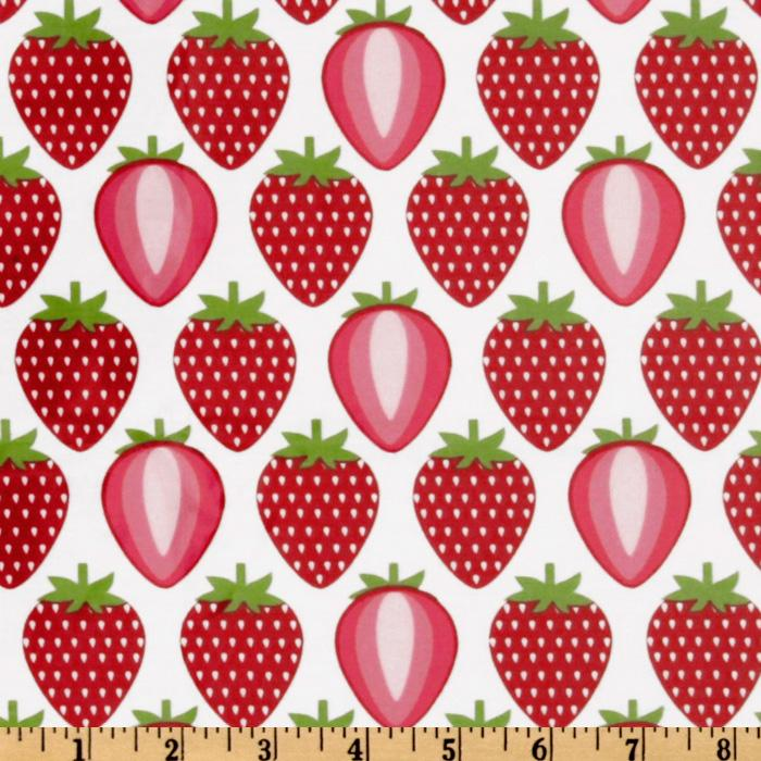 Timeless Treasures Laminated Cotton Strawberries White/Red