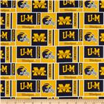 BN-767 Collegiate Cotton Broadcloth University of Michigan Squares Yellow/Blue