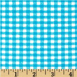 Aunt Polly's Flannel Gingham Turquoise/White
