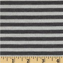 Designer Cotton Blend Jersey Knit Stripes Charcoal/White