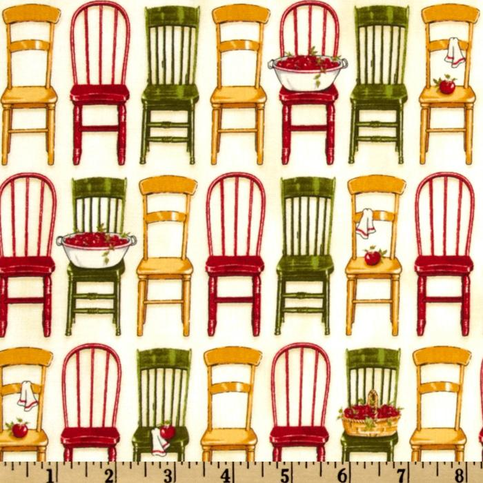Kaufman Kiss The Cook Vintage Kitchen Chairs Red/Green