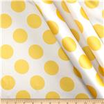 0291717 Charmeuse Satin Large Polka Dots White/Yellow