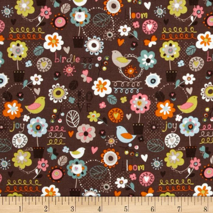 Blooming Lovely Birds & Flowers Brown