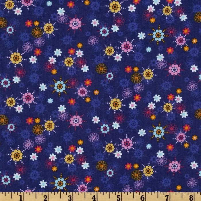 Owls Abstract Flower Blue/Multi