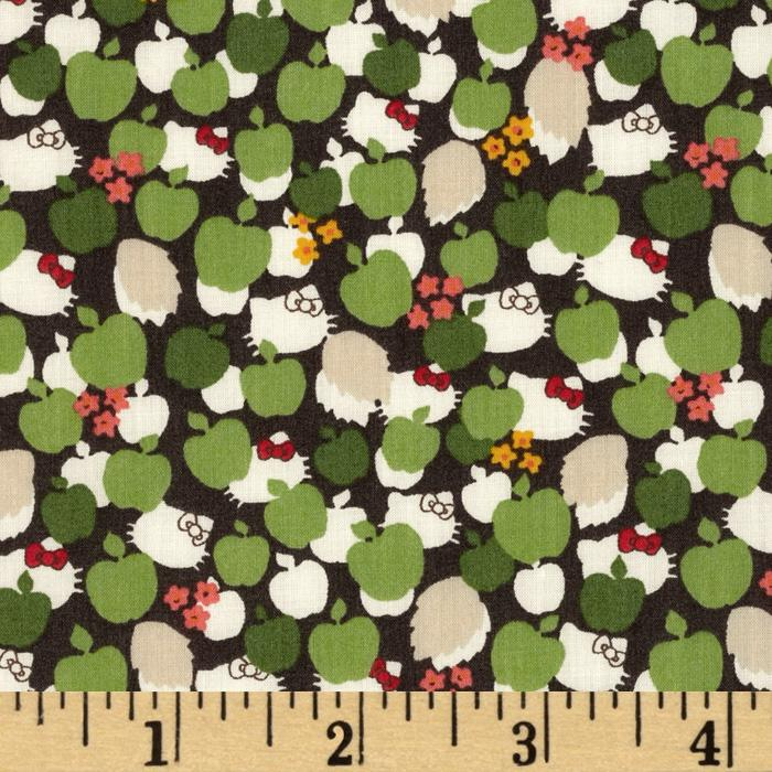 Liberty Of London Tana Lawn Hello Kitty Kitty Apple Tree Green