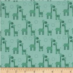 Riley Blake Giraffe Crossing Flannel Giraffe Teal