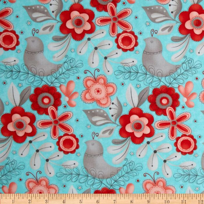 Moda Flirt Large Floral Blue Bird