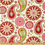 DU-458 Michael Miller Gypsy Bandana Rose Gypsy Paisley White