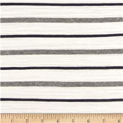 Designer Stretch Rayon Blend Slub Jersey Knit Stripes White/Black