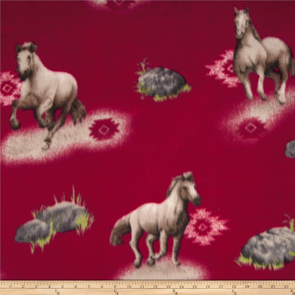 Printed Fleece Southwest Horse Dark Red