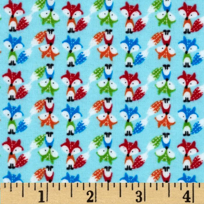 Timeless Treasures Mini Flannel Foxes Blue