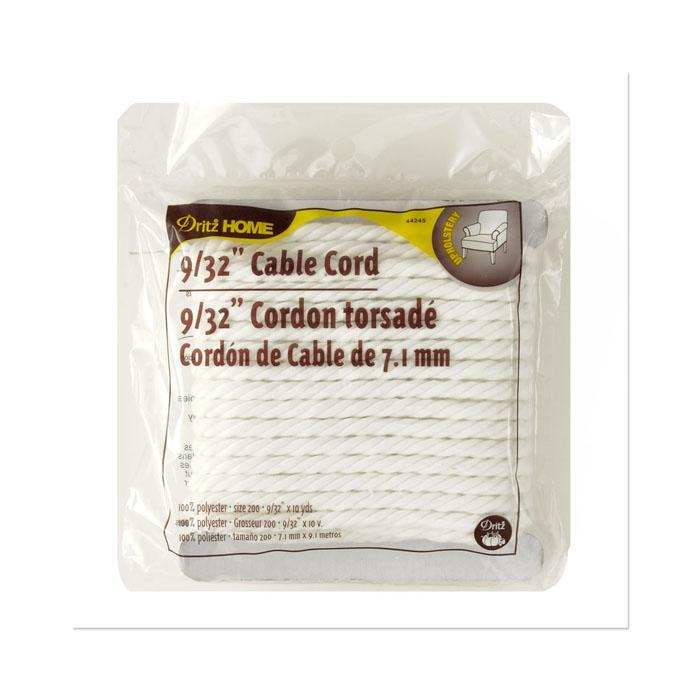 "Cable Cord 9/32"" 10 Yards/Pkg White"