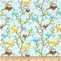 Riley Blake Snips & Snails Flannel Owls Blue