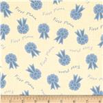 0291971 108'' Aunt Grace Quilt Backing First Place Ribbons Cream Blue