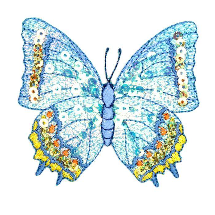 Large Butterfly Iron On Sequin Applique Blue