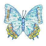 NR-2471 Large Butterfly Iron On Sequin Applique Blue