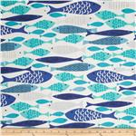 0290420 Michael Miller Lagoon Mod Fish Blue