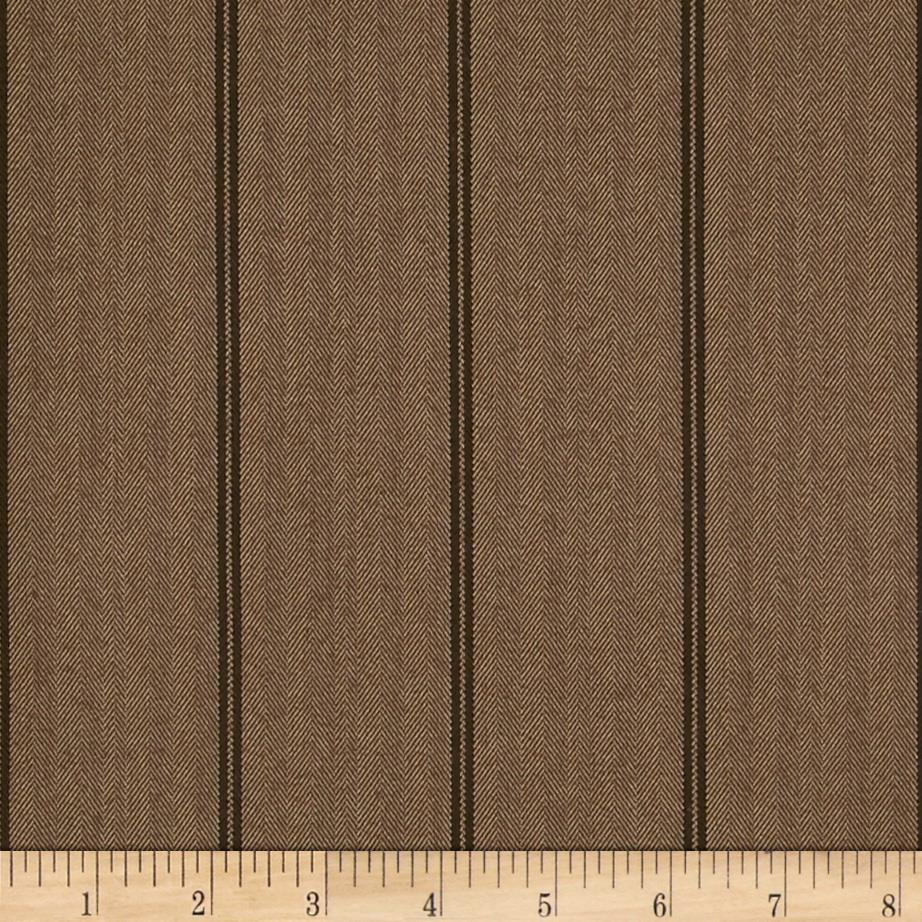 Designer Stretch Brushed Suiting Herringbone Stripe Brown