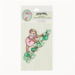 Iron-On Embroidered Applique Bazooples Molly Monkey In Pajamas