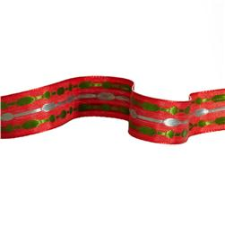 "5/8"" Jacquard Ribbon Satin Stitches Red/Green/Grey"