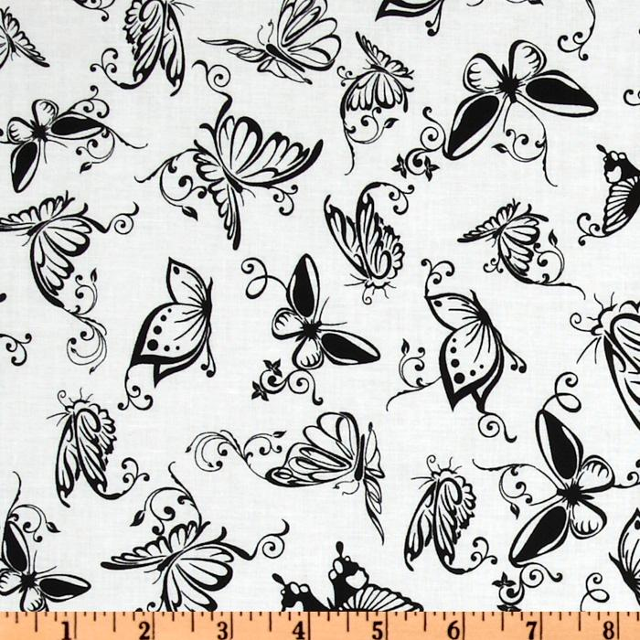 Exclusively Quilters Night and Day Butterfly White