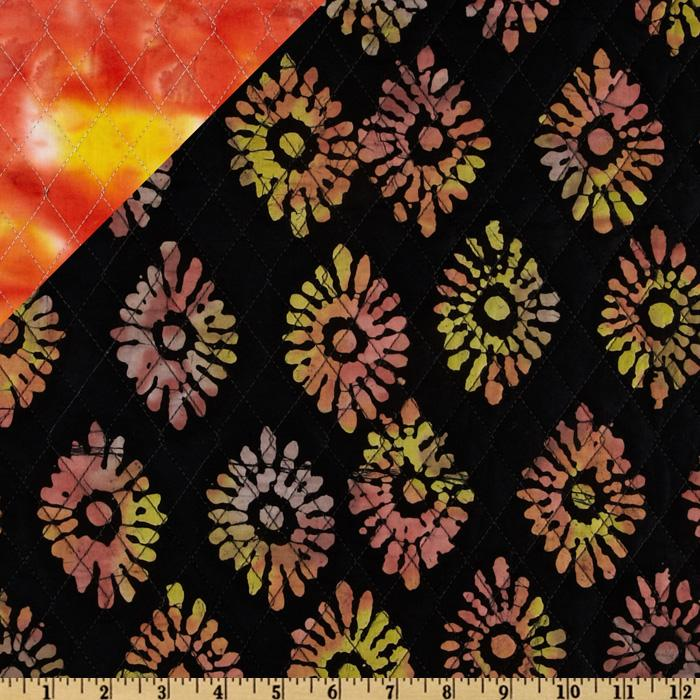 Double Sided Quilted Batik Medallions Black