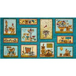 Kitty Kat Kapers Cat Panel Blue