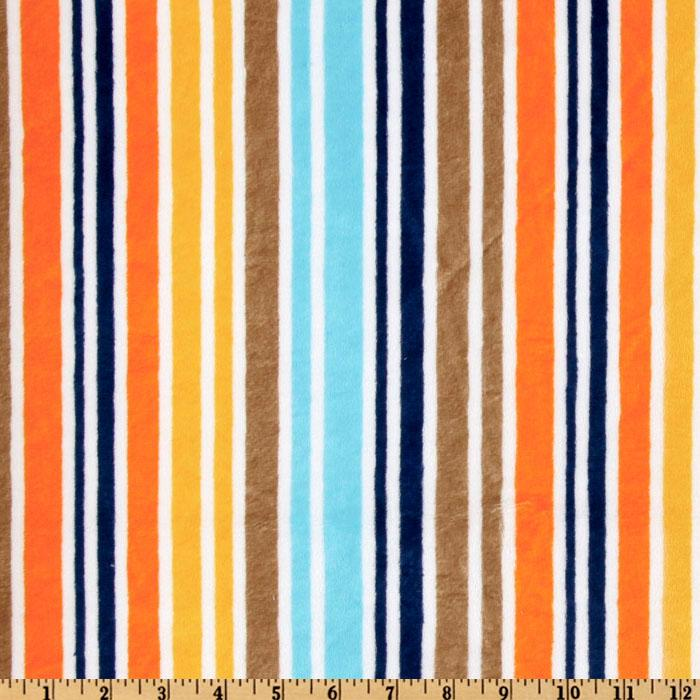Kaufman Minky Cuddle Candy Stripes Orange/Brown