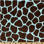 Minky Cuddle Giraffe Blue/Brown