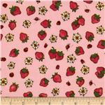 0280036 Strawberry Shortcake Flannel Tossed Strawberrys Pink/Red