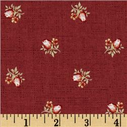 Treasures By Shabby Chic Vintage Rose Tossed Rose Buds Dark Red