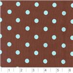 AQ-810 Pimatex Cotton Polka Dots Brown &amp; Aqua