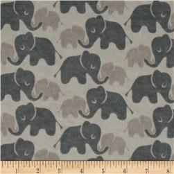 Flannel Elephants Tone on Tone Grey