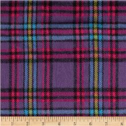 6 oz. Flannel Large Plaid Plum/Fuchsia/Blue
