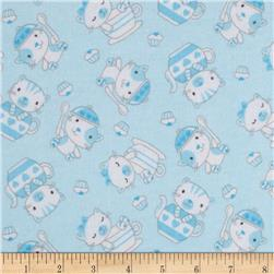 Flannel Teacup Kitty Blue