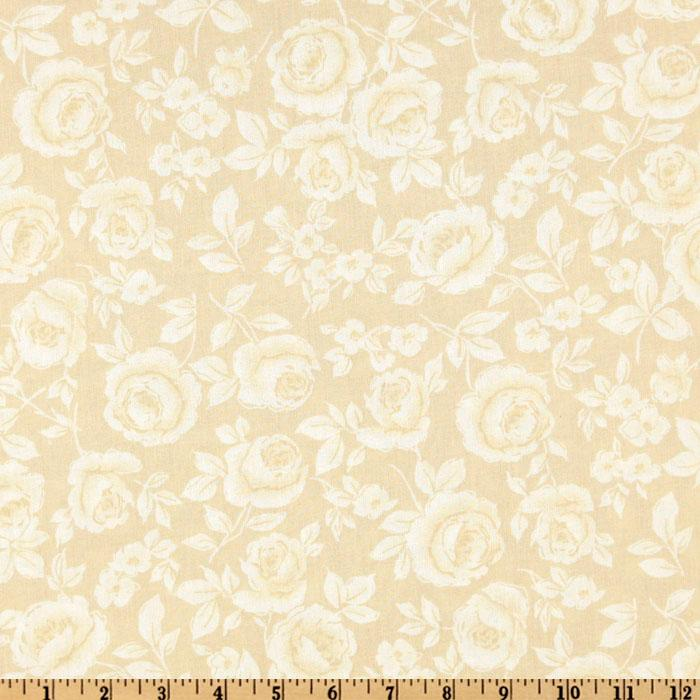108&#39;&#39; Flourish Quilt Backing Roses Tan