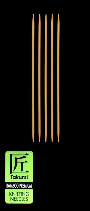 Clover Takumi Bamboo Premium Knitting Needles Double Pt. 7&#39;&#39; US 3 (3.25mm)