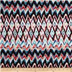 0267452 Bloom Stretch Cotton Sateen Watercolor Ikat Red/Blue