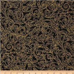 Winter Wishes Leaf Metallic Scroll Black
