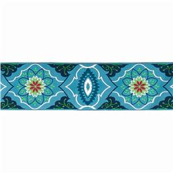 "2"" Amy Butler Blue On Navy Belle Brocade Ribbon"