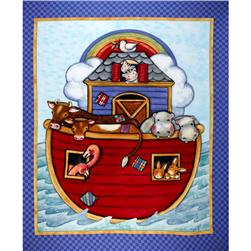 Noah's Ark Nursery Quilt Panel Multi